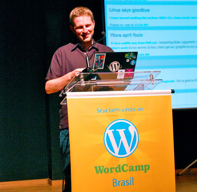 Matt Mullenweg no WordCamp Brasil em 2013